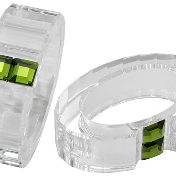 Swarovski Crystal Rainbow Napkin Rings Set Of 2 Olivine 276685