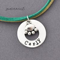 Personalized paw print charm suede leather necklace, Hand Stamped Necklace, pet, pick your colors, kids, green, paw, washer, kids jewelry