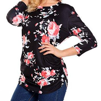 Qearal Women Casual 34 Sleeve Ruched Floral Long T Shirts Tunic Tops