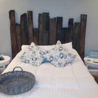 Rustic barn wood headboard