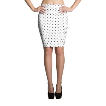 Black Polka Dots Pencil Skirt