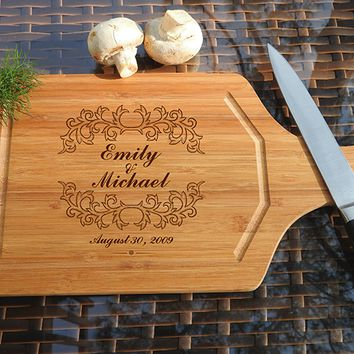 ikb478 Personalized Cutting Board Wood wedding gift anniversary date names wooden wedding