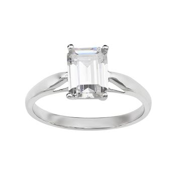 Emotions Cubic Zirconia 10k White Gold Solitaire Ring - Made wit 3521d1920cba