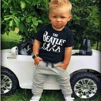 New 2017 Baby Boy clothes 2pcs Short Sleeve T-shirt Tops +Pants Outfit Clothing Set Suit with The Beatles printed