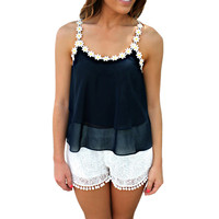 Flower Straps Sleeveless Chiffon Cropped Top