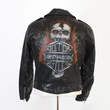 Vintage 80s LEATHER JACKET / 1980s Men's Custom Air Brushed HARLEY Davidson Black Biker Jacket M - L