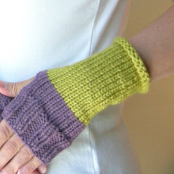 Knit Hand Warmers / Fingerless Gloves in Color by WindyCityKnits