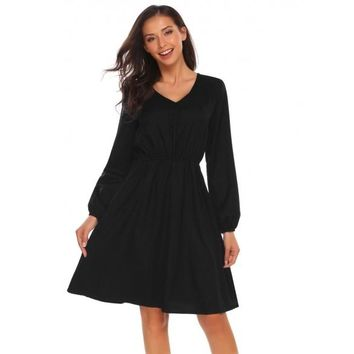 Lantern Sleeve Solid Fit And Flare Dress