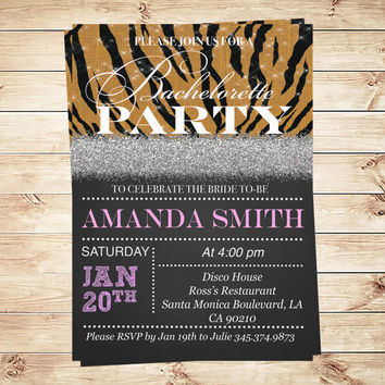 Printable Glitter Bachelorette Party Invitations, Digital paper Africa Bachelorette invitations, Bachelorette party invitation templates