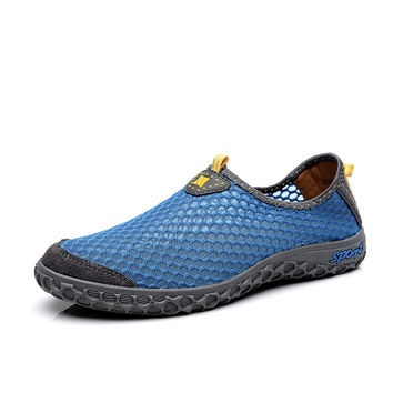 2017 Men's New Breathable Mesh Athletic Trainers Running Shoes Jogging Shoes Male Lightweight Walking Sneakers V1523