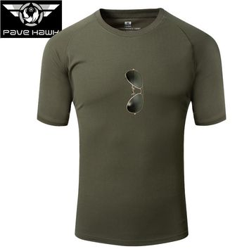 New Camouflage T-shirt Men Quick Dry Army Tactical Combat T Shirt Cool Military Camo Camping Hiking Hunting  T-Shirts Tee F24