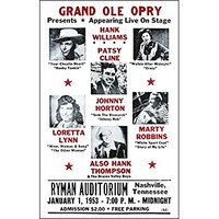 "Grand Ole Opry Presents Loretta Lynn, Hank Williams, Patsy Cline and More 14"" X 22"" Vintage Style Concert Poster"