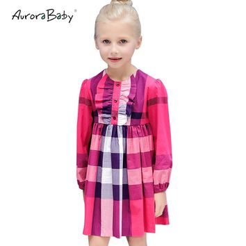 AuroraBaby Girls Dresses Plaid Long Sleeve Dresses For Spring Children Girls Clothes Toddler Girls Kids Cotton Dress 3-10Y
