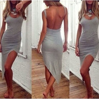 NEW Sexy Grey Hi-Lo Side Open Back Cotton Dress Large 2 Day Free Shipping