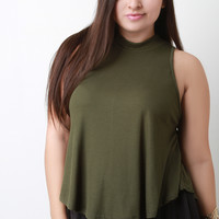 Sleeveless Ribbed Knit Mock Top