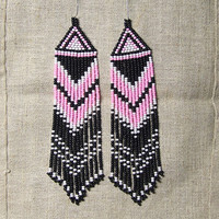 Beaded Native American  Earrings  Inspired. White Black  Pink Earrings. Dangle  Earrings.Long Earrings.  Beadwork.