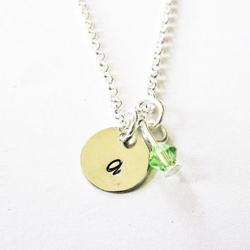 Initial Birthstone Necklace, Hand Stamped Initial, Personalized Jewelry, Swarovski birthstone, 1 initial one, custom initial necklace tiny
