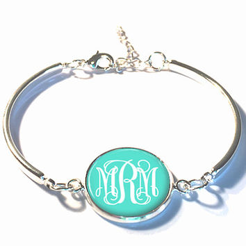 Turquoise Monogram Bracelet, Monogram Bangle, Monogram Jewelry, Bridesmaid Gift, Personalized Bracelet - Style 382