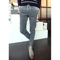 Casual Style Slimming Color Block Waist Drawstring Design Narrow Feet Men's Corduroy Pants