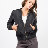 Gold Zippered Bomber Jacket