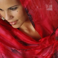 Silk Scarf Red and Black