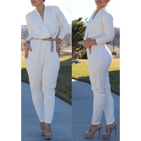 Stylish V-Neck Long Sleeve Solid Color Women's White Jumpsuit