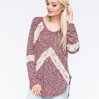 Blu Pepper Lace Inset Womens Sweater Burgundy  In Sizes