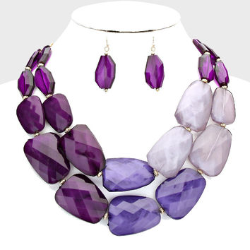 Statement Bead Necklace Purple