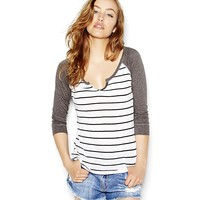 Striped Henley Baseball Tee