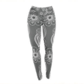 "Louise Machado ""Floral Ink"" Gray White Yoga Leggings"