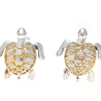 SILVER 925 HAWAIIAN 13MM HONU SEA TURTLE STUD POST EARRINGS 2 TONE YELLOW GOLD