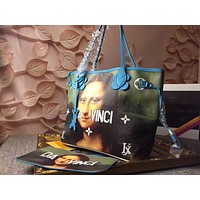 LV Louis Vuitton PAINTING LEATHER HANDBAG TOTE BAG