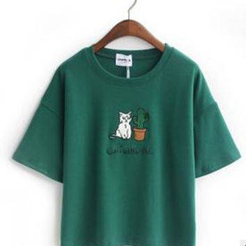 Cat Embroidered Cute Cropped Top Tees