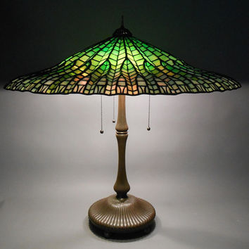 Stained glass classic plafond. Tiffany parasol. Umbrella ceiling lamp. Enormous lampshade. Ceiling retro lightning.