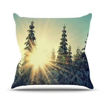 "Robin Dickinson ""Shine Bright"" Snowy Trees Outdoor Throw Pillow"