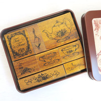 Margaret TEA TIME rubber stamp by Kodomo No Kao