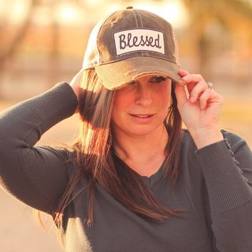 Blessed Trucker Hat  in Distressed Black