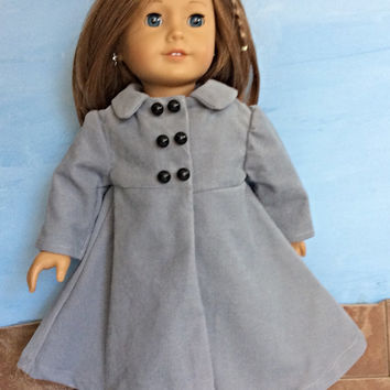 Gray Doll Coat, Grey Corduroy Doll Coat, Winter Doll Clothes, Fits 18 Inch Dolls such as American Girl Dolls