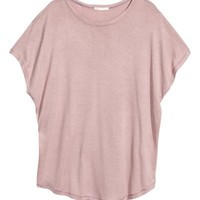 Top with cap sleeves - Light heather pink - Ladies | H&M GB