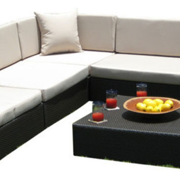 2016 Outdoor Wicker PE Resin 6 Piece Patio Deep Seating Section