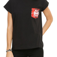 All Time Low Floral Pocket Girls T-Shirt
