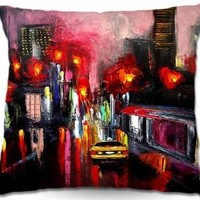 Decorative Woven Couch Throw Pillows from DiaNoche Designs Aja Ann Unique Bedroom, Living Room and Bathroom Ideas Faces of the City 145
