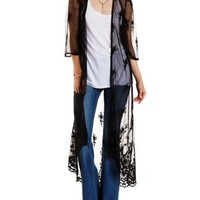 Black Embroidered Mesh Duster Kimono by Charlotte Russe