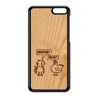 Carved on Wood Effect_Chicken and Pussy Black Hard Plastic Case for Amazon Fire Phone by Chargrilled
