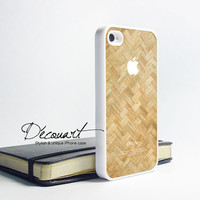 iPhone 4 case, iPhone 4s case, case for iPhone 4, wicker pattern with apple logo W335