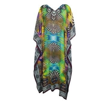Mogul Dancing On My Own Kimono Maxi Caftan Digital Print Summer Beach Bikini Cover Up Resot Wear Long Katan Dress One Size - Walmart.com
