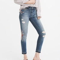 Womens Embroidered Low-Rise Ankle Jeans | Womens Bottoms | Abercrombie.com