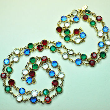 "SWAROVSKI Vintage Gold, Red, Blue, Green and Clear, Petite Crystal Bezel Long 32"" Necklace, 6mm Bezel, Sparkly Beauty!  #A703"