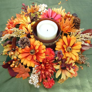 Fall Floral Table Arrangement with Candle and Holder, Dinning Table Centerpiece,Thanksgiving Arrangement, Thanksgiving Dinning Table