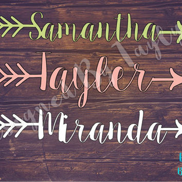 Arrow Name Decal, Arrow Decal, Monogram Decal, Car Decal, Monogrammed Arrow, Yeti Decal, Bridesmaid Gifts, Custom Decal, Custom Name Decal